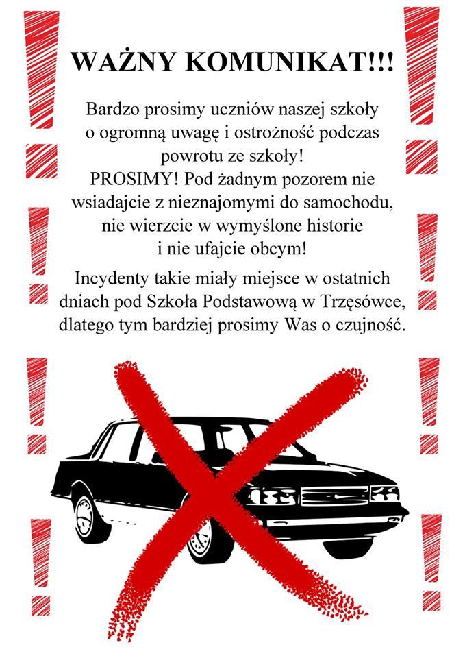 Uwaga na podejrzanych ludzi i samochody!