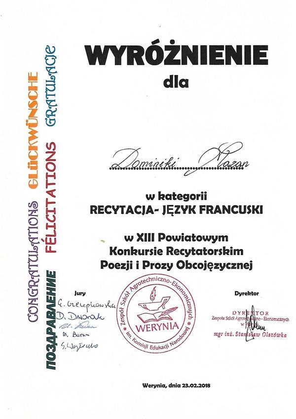 Konkurs recytatorski w Weryni